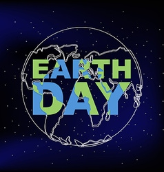 Earth day line silhouette of planet earth vector