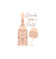Elegant cream color for bottle beer and glass vector