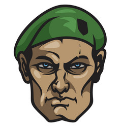 face of experienced soldier vector image