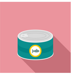Fish tin can icon flat style vector