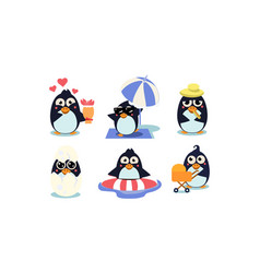flat set of cute penguins south polar bird vector image