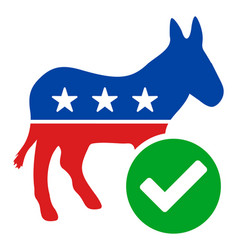 Flat vote democrat donkey icon vector