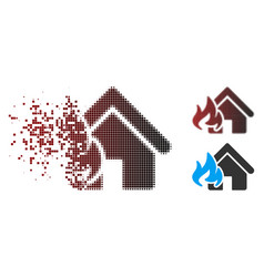 fractured pixel halftone fire damage icon vector image