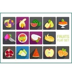 Fruits flat icons set vector image