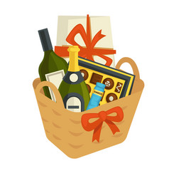 gift basket full of chocolates and alcohol bottles vector image