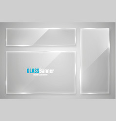 glass frames collection realistic glossy vector image