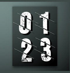 glitch number font template vector image