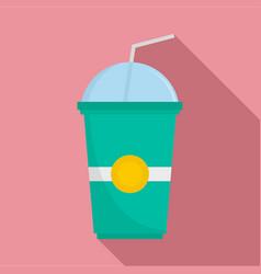 Green kiwi smoothie icon flat style vector