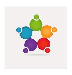 group creative teamwork people logo vector image