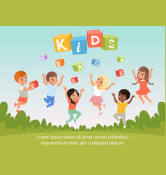 Group of kids with happy faces abc cubes cartoon vector