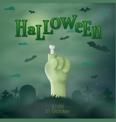 halloween cartoon 3d realistic zombie hand vector image