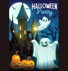 halloween ghosts with pumpkins and haunted house vector image