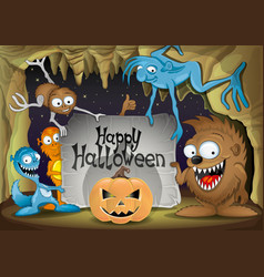 halloween pumpkin and monsters vector image