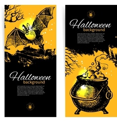 Hand drawn set of Halloween banners vector image vector image