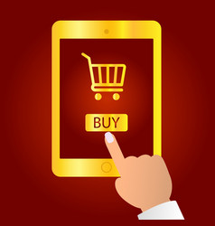 hand hold tablet and pointing to the screen shop vector image
