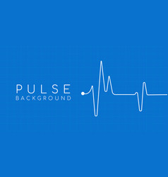 Heartbeat ekg pulse tracing on blue background vector