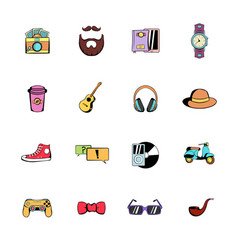 Hipster style comics icons set cartoon vector