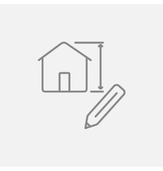 House design line icon vector