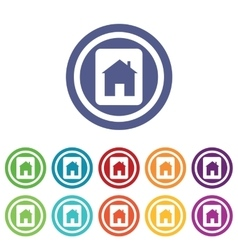 House plate signs colored set vector