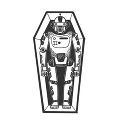 Humanoid dead robot in coffin sketch engraving vector
