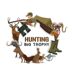 Hunter hunting guns and rifles dog and animals vector