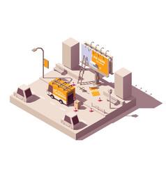 isometric billboard fixing vector image
