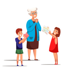 Kids greeting granny with birthday flat characters vector
