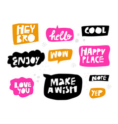 lettering in multicolor speech bubbles set vector image