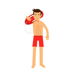 Lifeguard man character on duty standing and vector