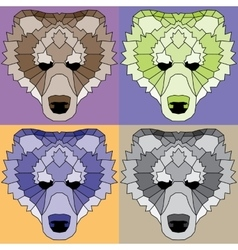 Low poly lined bears set vector image