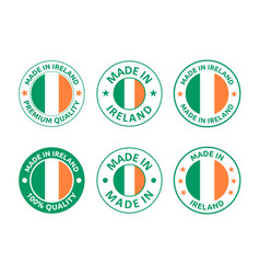 made in ireland labels set republic ireland vector image