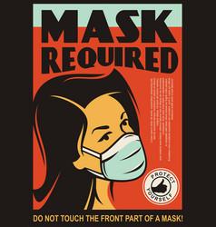 mask required door sign design vector image