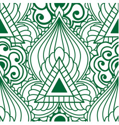 Mehendi seamless pattern of green with white color vector