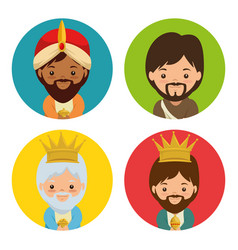 merry christmas three magic and wise kings vector image