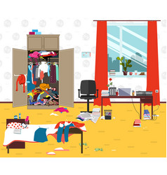 Messy room where young lady lives teenager vector