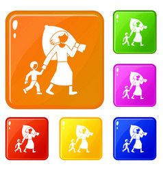 Migrant mother kid icons set color vector