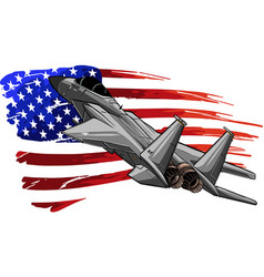 Military fighter jets with amerivan flag vector