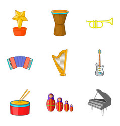 Musical notation icons set cartoon style vector