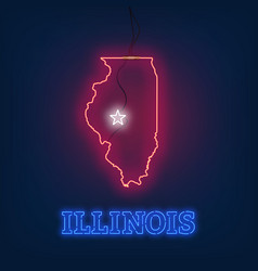neon map state of illinois on dark background vector image