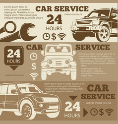 Off-road car service vintage banners collection vector