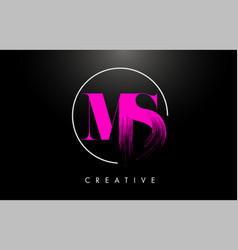 pink ms brush stroke letter logo design pink vector image