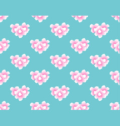 pink trumpet flower seamless on blue mint vector image vector image