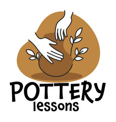 Pottery lessons and classes for making pots vector