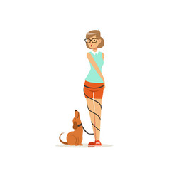 Pretty girl standing with happy dog leash wrapped vector