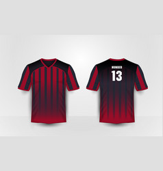 red and black pattern sport football kits t-shirt vector image