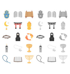 Religion and belief cartoonmono icons in set vector