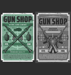 Retro posters military weapon ammo and gun shop vector