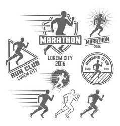 running club set of monochrome emblems vector image
