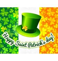 Saint Patricks hat on Irish flag greeting card vector image vector image
