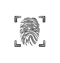 scanned fingerprint in the frame hand drawn vector image